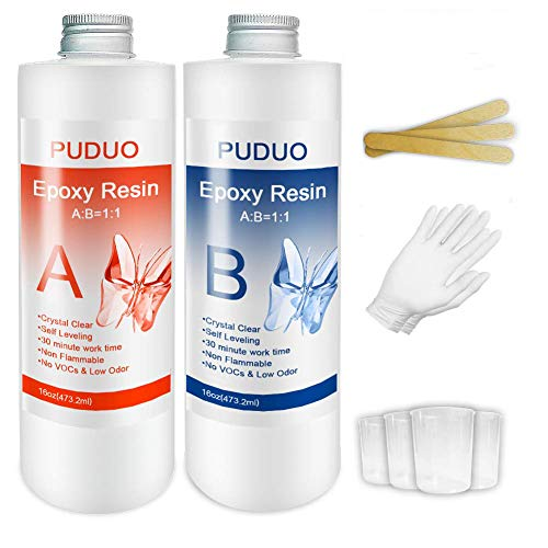Epoxy Resin Clear Kit for Art, Jewelry, Crafts, Keychain - 32 OZ Including 16OZ Resin and 16OZ Hardener with Tool Kit 4 pcs Measuring Cups, 3pcs Sticks, 1 Pair Rubber Glove