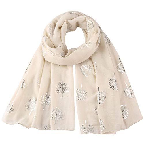 CMTOP Pañuelo de Seda Mujer Elegante Bufanda Moda Chals Señoras Elegante Estolas Fular Estampado Hoja Plata Apto para Cuatro Estaciones Mujer Bufandas