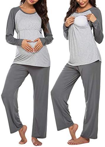 Ekouaer Maternity Nursing Pajama Set Women Patchwork Long Sleeve Breastfeeding Sleepwear Dark product image