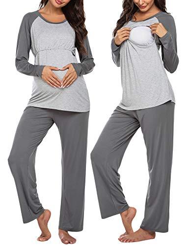 Ekouaer Maternity & Nursing Pajama Set,Women Patchwork Long Sleeve Breastfeeding Sleepwear (Dark Grey L)