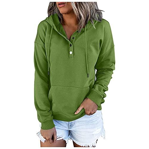 Sudadera con capucha para mujer con capucha y botón de color oscuro Color sólido O-cuello casual de manga larga suéter de bolsillo sudaderas, verde, XL
