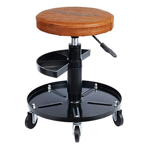 Haskyy Höhenverstellbar Werkstattstuhl Werkstatthocker Werkstattsitz Arbeits-Hocker-Stuhl-Sitz Braun mit 5 Rollen | ca. ø 40cm | 2 Ablagen | 430-580mm