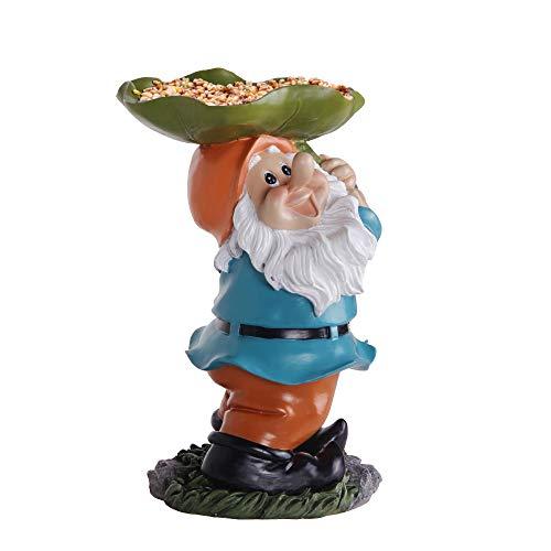 Keygift Bird Feeders for Outside, Garden Gnome Outdoor Statue, Small Planter Stand for Outdoor/Indoor Plants, Multifunctional Resin Figurine Garden Decor