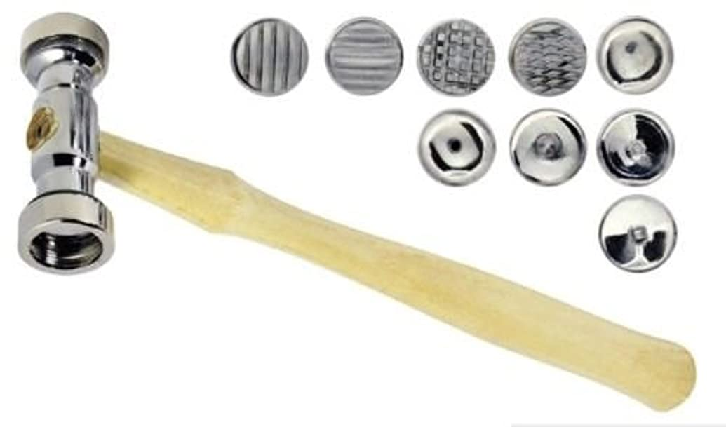 TEXTURING HAMMER WITH SET-9 PATTERNS INTERCHANGEABLE DESIGNS FACES METAL TEXTURE (E 13)