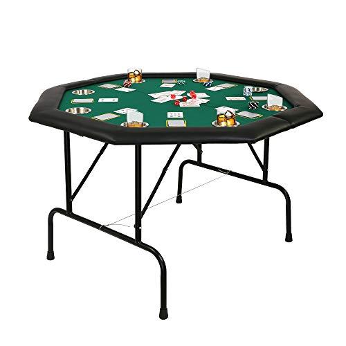 "LUCKYERMORE 48"" Folding Poker Table, Professional 8 Player Casino Poker Table w/Cup & Foldable Leg, Octagon Texas Hold'em Poker Mat for Blackjack, Club, Family Games"