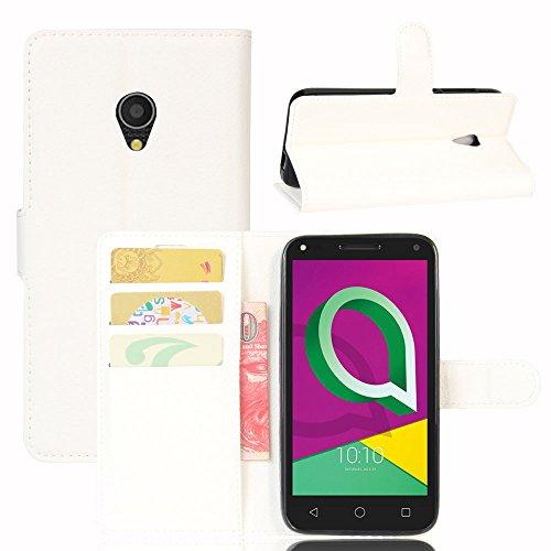 Funda Móvil para Alcatel U5 3G Carcasas Flip PU de Cuero Cartera de Silicona Protector de Teléfono Contraportada Cubierta para Alcatel U 5 3G 4047D 4047X 4047F 4047 D AlcatelU5 3G Caso (white)