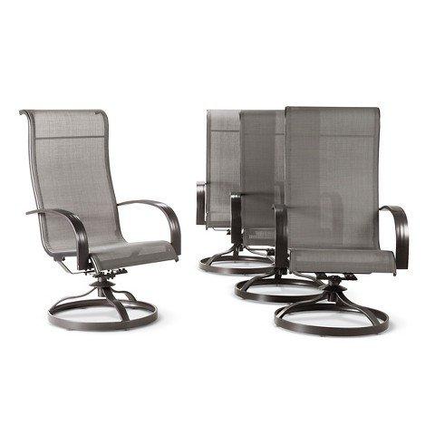 Camden 4pk Metal Sling Swivel Rocker Patio Dining Chair Gray - Threshold™