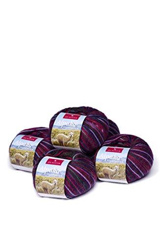 APU KUNTUR Alpaka Socken-Wolle   Strick-H�kel-Garn weich, warm und kratzfrei   5er Vorteilspack   200m, Nadel 2,5   wundersch�ne Farben zum angenehmen Stricken und h�keln   violett-lila