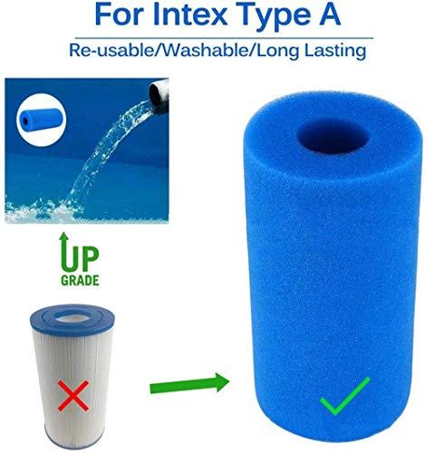 NJYBF Filter Sponge für Intex Typ A, Schwimmbad Filter Schaum Schwamm, Filter Schwamm, Filterschaum, Filterkartuschen Pool,wiederverwendbar und waschbar. (4 pcs)