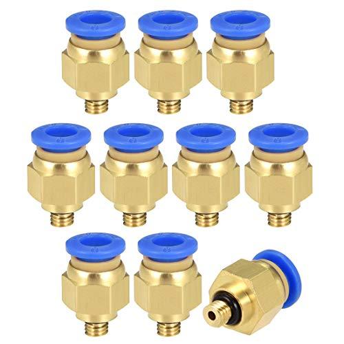 Sourcing map 10 piezas PC6-M5 aire neumático recto rápido tubo empalme o 15/64' rosca M5 un toque conector tubo flexible