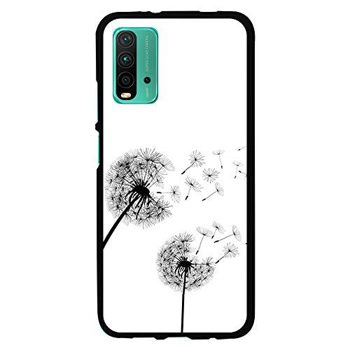 Funda Negra para [ Xiaomi Redmi 9T ], Carcasa de Silicona Flexible TPU, diseño : Flores Diente de Leon