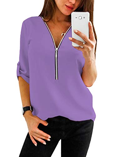YOINS Sexy Oberteil Damen Sommer Elegante Langarmshirts Damen Bluse Tunika Frühling T-Shirt V-Ausschnitt Tops Lila XXL