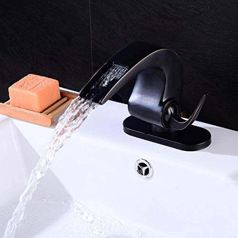 Waschtischarmaturen Waschraumarmaturen Badewannenarmaturen Hahn Kupfer Bad warme und kalte Einloch Wasserfall schwarz Tippen