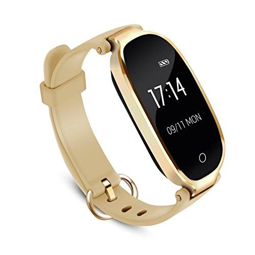 Pulsera Actividad Inteligente Mujer, AGPTEK SW03 Reloj Deportivo Impermeable con Bluetooth Podómetro Sedentarios, Monitor Ritmo Cardíaco Sueño para Android y IOS Teléfono móvil- Oro