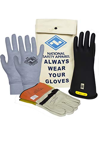 National Safety Apparel Class 2 Black Rubber Voltage Insulating Glove Premium Kit with FR Knit Glove and Leather Protectors, Max. Use Voltage 17,000V AC/ 25,500V DC (KITGC210AG)