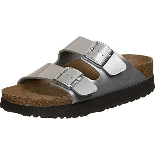 Papillio Damen Arizona Birko-Flor Platform Metallic Silver Sandale, 39 EU