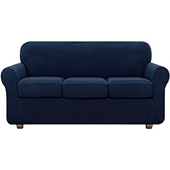 Couch Sofa Covers for 3 Cushion Couch Cover 4 Piece Stretch Sofa Slipcovers  Navy Blue