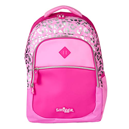 Smiggle Kids School Backpack from The Block Collection for Boys and Girls with 3 Zipped compartments and Drink Bottle Sleeve | Pink