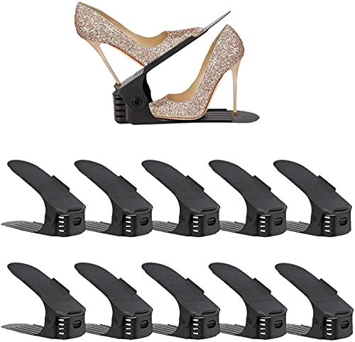 DYHQQ Paquete de 10 organizadores de Ranuras para Zapatos, apilador de Zapatos Ajustable, Ahorro de Espacio para Zapatos, Soporte de Zapatero de Dos Pisos para organización de Armario