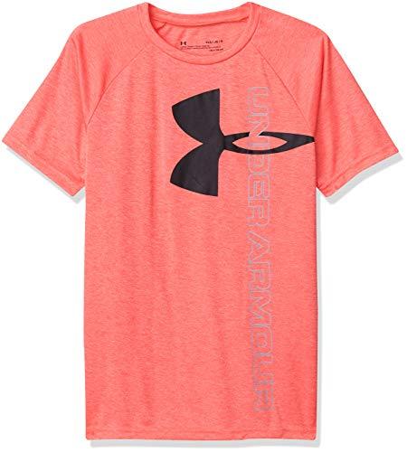 Under Armour Boys' Tech Split Logo Hybrid T-Shirt , Beta (628)/Black , Youth X-Large