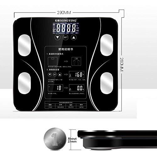 BINGFANG-W Báscula de baño de Cuerpo Escala, Digital Peso Humano Escalas de pesaje Piso Índice Cuerpo Electrónico, 180Kg / 400 Libras Negro Cocina
