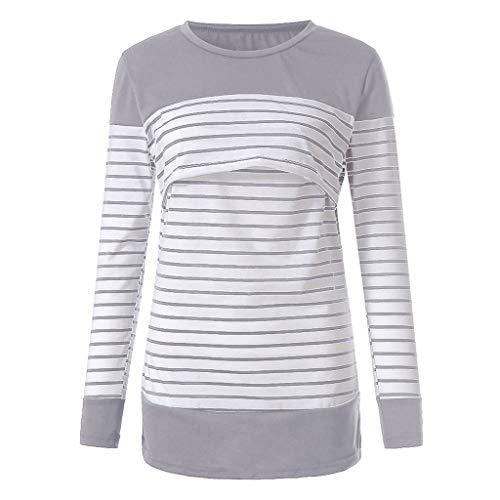 Manadlian - T-shirts Blouse de Maternité Femme, Chic Tops à Rayé Manches Longues Bébé Allaitant Enceinte Grossesse Tops Hauts Pullover Tops