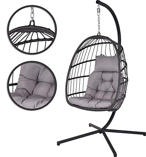 idooka Outdoor Garden Rattan Weave Egg Chair Cocoon Patio Seat Hanging Stand with Spring Indoor Folding Hammock Style...