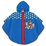 Perletti poncho impermeable patrulla canina niño - chubasquero de lluvia con estampado chase marshall y skye - chaqueta antiviento con capucha y botones - tejido eva (azul, 2/5 años)