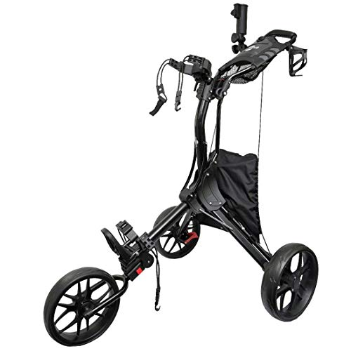 Hoveroid Foldable 3 Wheel Golf Push Cart Aluminum Structure, Light Weight Suitable Golf Pull Cart for Teenagers&Adults Golf Club, Golf Course, Sports Competition (3 Wheel- Black N8)