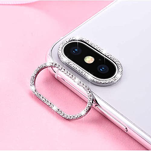 Best Shopper - Glitter Rhinestone Camera Lens Film Protective Case Lens Protector For Apple iPhone XR - Silver