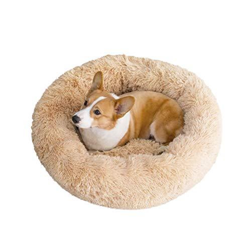 HUABAG Donut Cuddle Bett, flaumiges Plüsch-Katzenbett, Anti-Rutsch-Boden, Maschinen Washabl mit Zipper,Beige,70cm