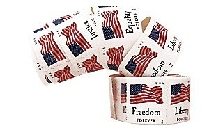 """USPS Forever Stamps""""Four Flags""""-Freedom, Liberty, Equality, and Justice! Self-Adhesive. Roll of 100. 100 in Total. Good Forever."""