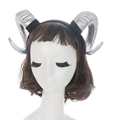 Diadema gótica de Halloween para mujeres y niñas, cuerno de oveja, animal, cosplay, disfraz de aro, Demonio malvado plástico para fiesta de fotos