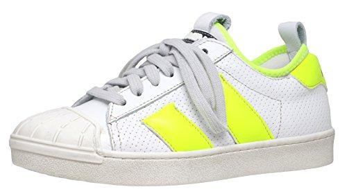 Momino 3130V Sneakers Turnschuhe Unisex - Kinder (37 EU, Weiß-Neongelb (11887))