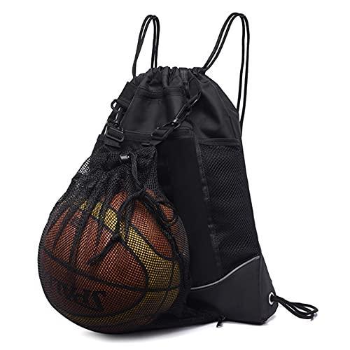 HZLQ Bolsa de Baloncesto de fútbol, Mochila de Baloncesto Plegable con cordón, Bolsa de Gimnasia con Bolsa de Red Desmontable, Usado para Voleibol, béisbol, Yoga, Negro