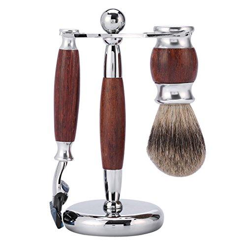 Rakningssats för män, borst av rosenträ och säkerhetshyvel av rostfritt stål med hållare, perfekt för användning hemma eller på resor, bärbar storlek och lätt vikt.