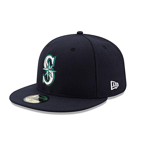 New Era 59FIFTY Seattle Mariners MLB 2017 Authentic Collection On Field Game Fitted Cap Size 7 3/8 Authentic Fitted Hat Game