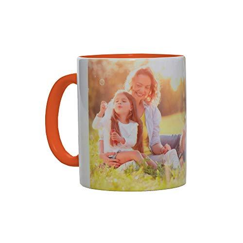 Stampa la Tua Foto e Scritta su Tazza Personalizzata, Modello Mug in Ceramica con Scatola per Uso Regalo, Alimentare e arredo (Arancione, 300 ml)