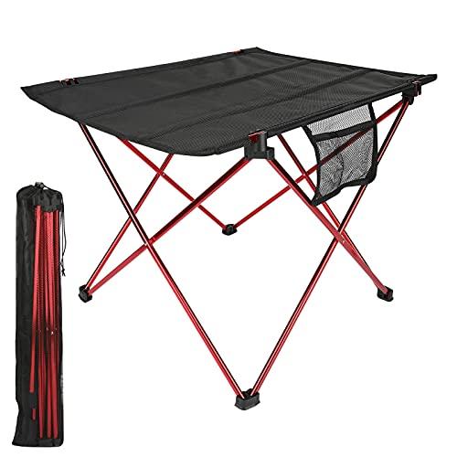 Tavolo da campeggio portatile, Luckits tavolo da campeggio pieghevole in alluminio leggero con custodia in rete, facile da installare, trasportare e pulire, piccolo tavolo pieghevole per picnic