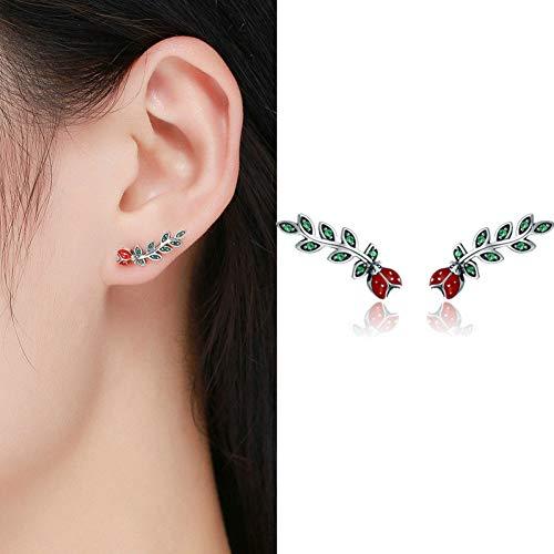 GUOZHENG Sterling Silber Koreanische Feder Rose Blume Stern Flugzeug Manschette Ohrstecker Für Frauen Mode Frauen Ohrringe , Ece314