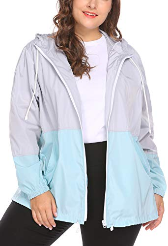 IN'VOLAND Women's Plus Size Raincoat Rain Jacket Lightweight Waterproof Coat Jacket windbreaker with Hooded
