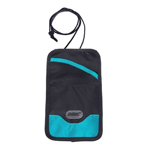 Portadocumenti da collo, GOX Premium 420D Nylon Multi-funzione Impermeabile Portatile Collo Stash Raccoglitore del Sacchetto di Viaggio - Protegge i Vostri Soldi, Carte di Credito e Documenti (Long, Blu)
