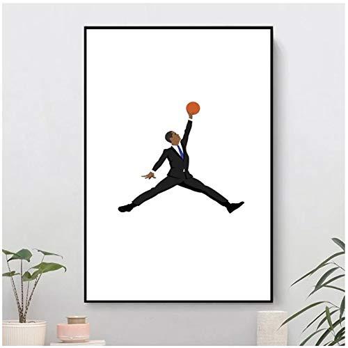 QQWER Obama Schwarzer Anzug X Jumpman Wandplakat Leinwanddruck Gemälde Bild Zeitgenössische Kunst Raumdekoration -50X70Cmx1Pcs -Kein Rahmen
