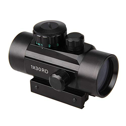 Aufun Leuchtpunktvisier 1X30 RD Red Dot Laser Sight Zielfernrohr Airsoft Rifle Scope Rot/Grün
