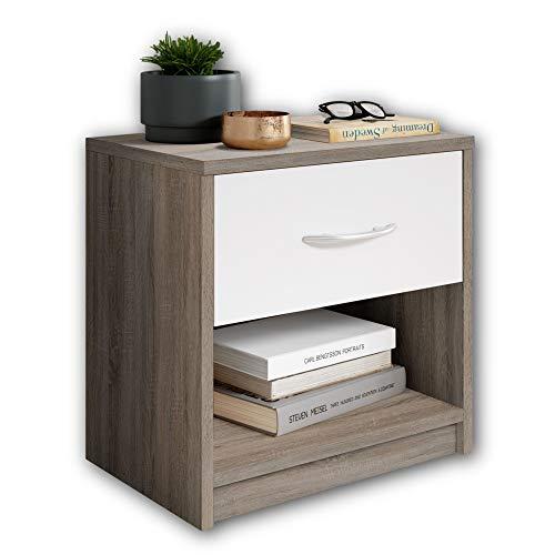 Stella Trading PEPE Nachttisch in Trüffel Optik, Weiß - Schlichter Nachtschrank mit einer Schublade passend zu jedem Bett & Schlafzimmer - 39 x 41 x 28 cm (B/H/T)