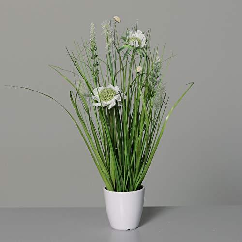 Wiesenblumengras 38cm weiß im Dekotopf DP Kunstblumen Frühlingsblumen Kunstpflanzen Dekogras