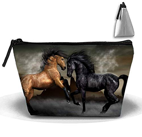 Sacchi cosmetici Sacco per il trucco di combattimento di cavalli con la borsa della spazzola Sacchetto trapezoidale di Strorege della chiusura lampo portatile per la ragazza e la donna necessarie