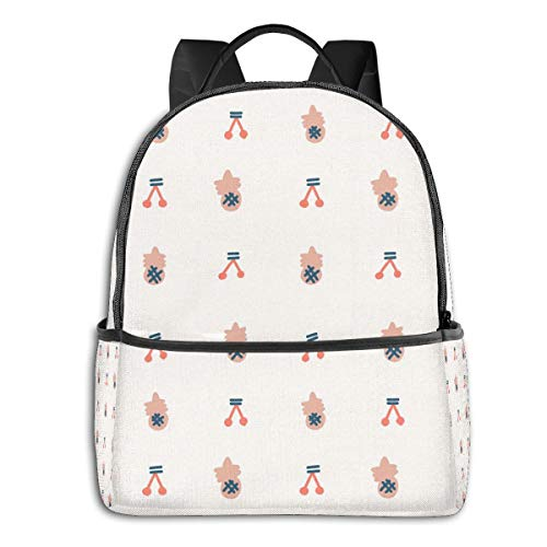 Qucoost Cherry Pineapple Daypack With Side Pockets, College School Bookbag Anti-Theft Multipurpose