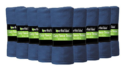 12 Pack Wholesale Soft Comfy Fleece Blankets - 60' x 50' Cozy Throw Blankets (Navy Blue)