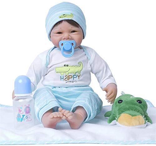 Reborn Baby Doll, Muñeca De Silicona Realista De 22 Pulgadas, Una Muñeca De La Niña De Renacimiento Pesada En El Traje De Cocodrilo, con Accesorios Y Certificado De Adopción